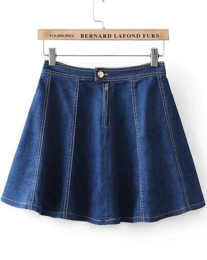 Navy High Waist Flare Denim Skirt