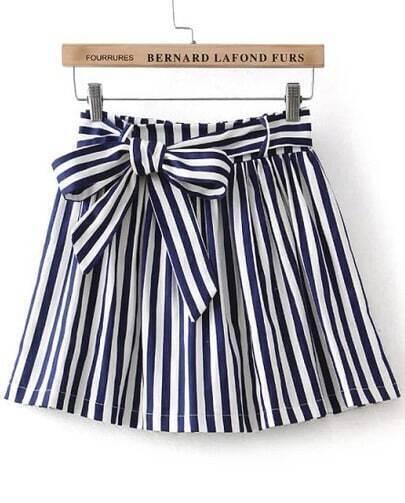 Blue Bow Striped Skirt