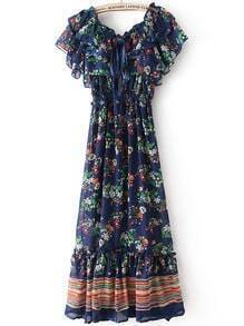 Royal Blue Spaghetti Strap Floral Dress With Cape