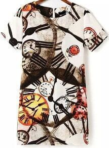 White Short Sleeve Watches Print Loose Dress