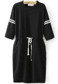 Black Half Sleeve Drawstring Loose Dress