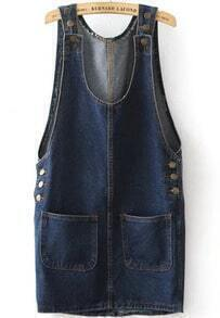 Navy Strap Buttons Pockets Denim Dress