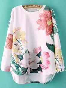 White Round Neck Floral Dip Hem Sweatshirt