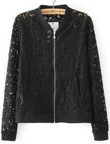 Black Hollow Floral Crochet Lace Coat