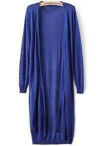 Blue Long Sleeve Loose Knit Cardigan