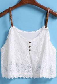 White Strap Buckle Lace Cami Top