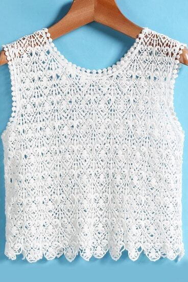 White Round Neck Lace Crop Tank Top
