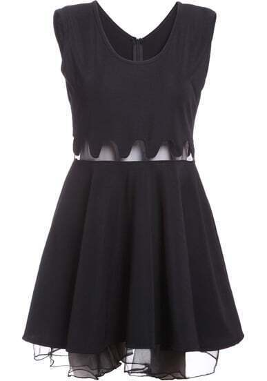 Black Sleeveless Peplum Waist Sheer Mesh Dress