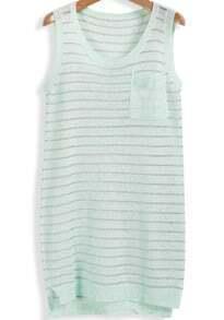 Green Sleeveless Striped Knit Pocket Knit Dress