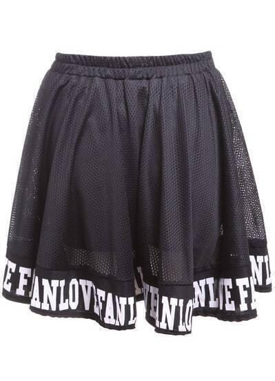 Black Hollow Mesh Letters Print Skirt