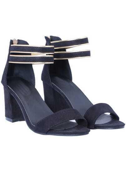 Black Back Zipper Slingbacks High heeled Sandals