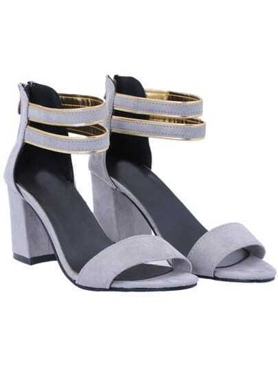 Grey Back Zipper Slingbacks High heeled Sandals
