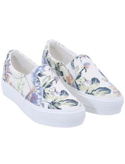 Chaussures plates floral bout rond -blanc