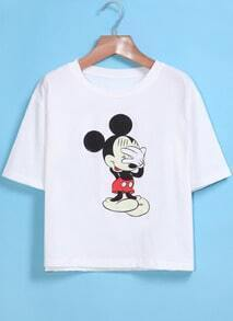 White Short Sleeve Mickey Print Crop T-Shirt