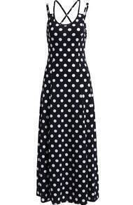 Black Spaghetti Strap Polka Dot Tea Length Dress
