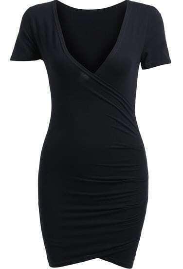 Black V Neck Short Sleeve Bodycon Dress