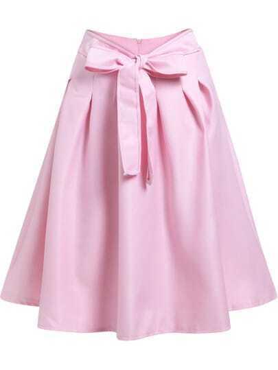 Pink Tie-Waist Flare Skirt