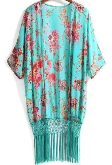 Green Floral Tassel Loose Chiffon Kimono