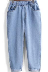 Blue Elastic Waist Pockets Denim Pant