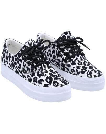 White Lace Up Leopard Print Flat Shoes