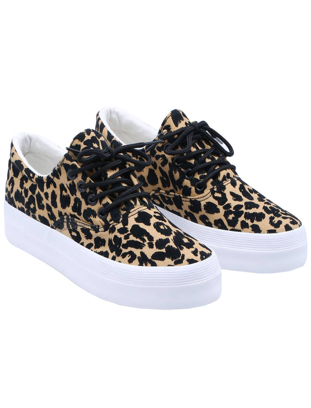 brown lace up leopard print flat shoes shein sheinside