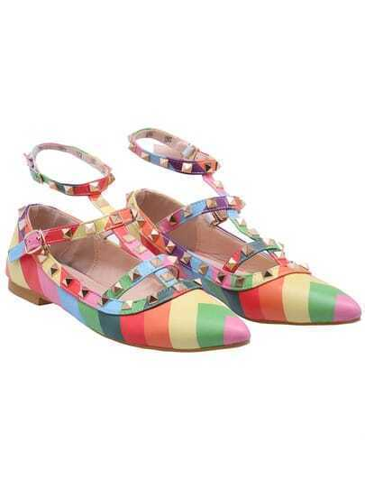 Multicolor With Rivet Slingback Flat Shoes