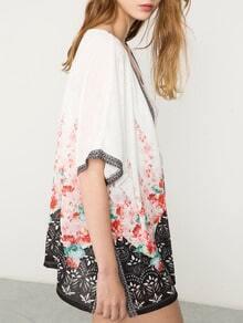 White Short Sleeve Floral Print Kimono