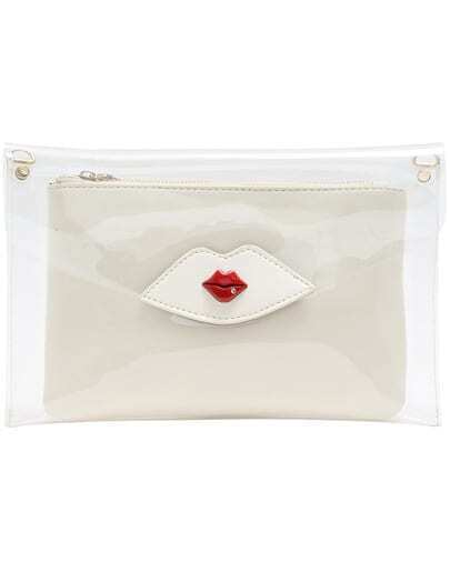 White Red Lips Pattern Transparent Clutch Bag