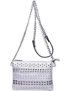 Silver With Rivet Shoulder Bag