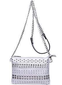 Silver With Rivet Shoulder Bag