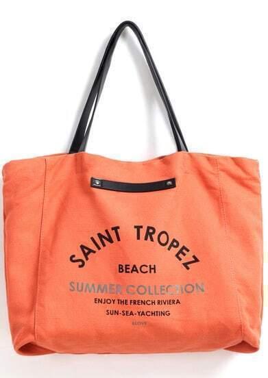 Orange Letters Print Canvas Shoulder Bag