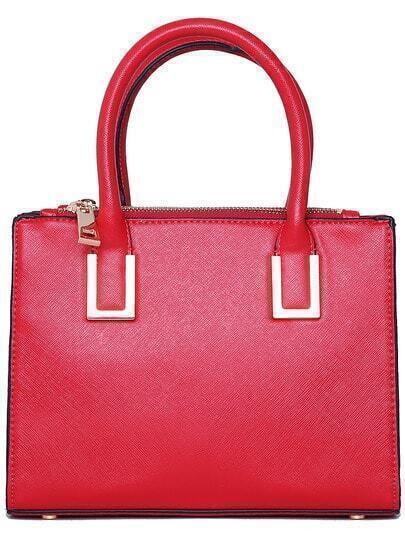 Red Double Zipper PU Tote Bag