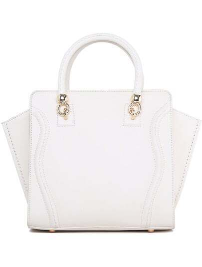 White With Zipper PU Tote Bag