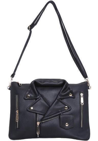Black With Zipper Cloth Shape Shoulder Bag