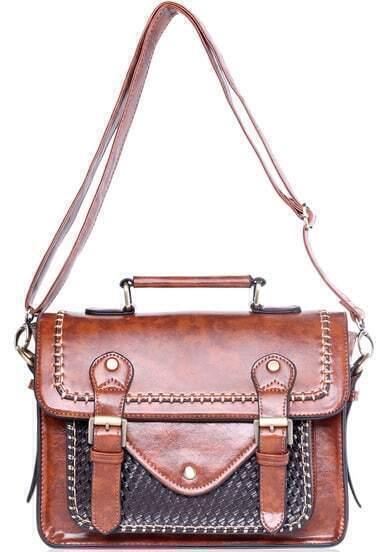 Coffee Belt Buckle Vintage Shoulder Bag