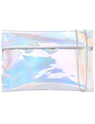 Silver Magnetic Chain Shoulder Bag