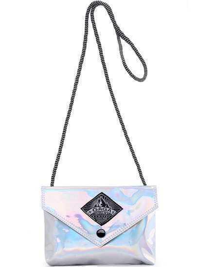 Silver Zipper PU Shoulder Bag