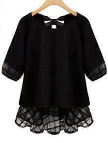 Black Short Sleeve Bow Peplum Hem Blouse