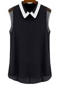 Black Lapel Sleeveless Slim Chiffon Blouse