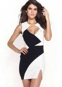 Colour-block Sleeveless Split Bodycon Dress