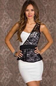 White One-shoulder Lace Bodycon Dress