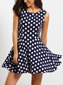 Navy Buisness Workwear Sleeveless Spotty Polka Dot Flare Dress