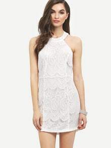White Halter Open Back Lace Bodycon Dress