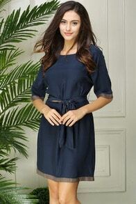 Navy Short Sleeve Tie-waist Shift Dress