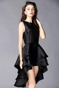 Black Sleeveless Cascading Ruffle High Low Dress