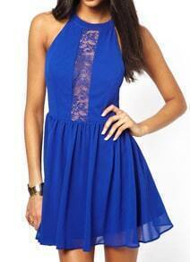 Blue Sleeveless Sheer Lace Pleated Dress