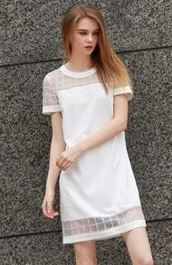 White Short Sleeve Sheer Mesh Straight Dress