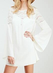 White Bell Sleeve Hollow Lace Loose Dress