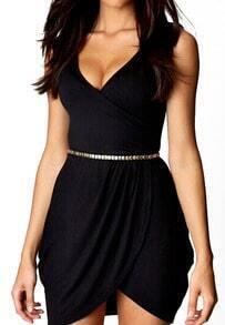 Black Dupioni V Neck Sleeveless Bodycon Dress