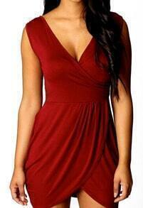 Red V Neck Sleeveless Bodycon Dress